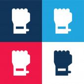 Karkötő kék és piros négy szín minimális ikon készlet