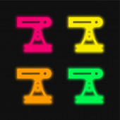 Paprsek čtyři barvy zářící neonový vektor ikona