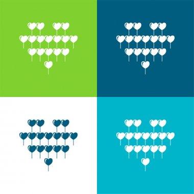 Attractive Heart Balloon Of Multiple Hearts Balloons Flat four color minimal icon set stock vector