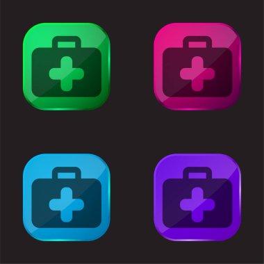Briefcase four color glass button icon stock vector