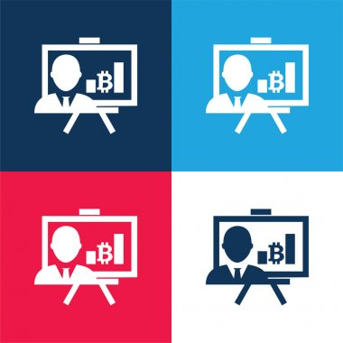 Bitcoin Presentation With Graphs And Reporter blue and red four color minimal icon set stock vector