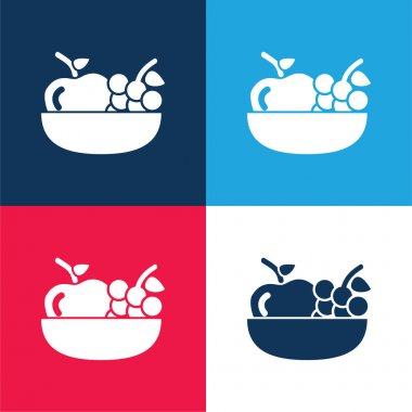 Apple And Grapes On A Bowl blue and red four color minimal icon set stock vector