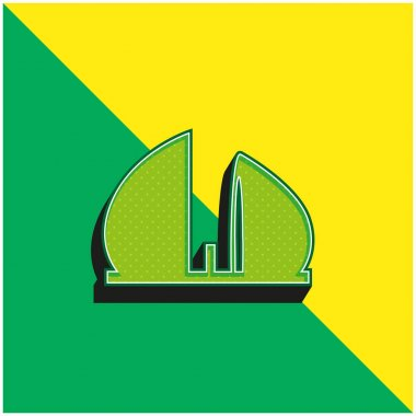 Al Shaheed Monument Of Iraq Green and yellow modern 3d vector icon logo