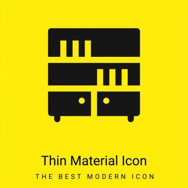 Bookcase minimal bright yellow material icon stock vector