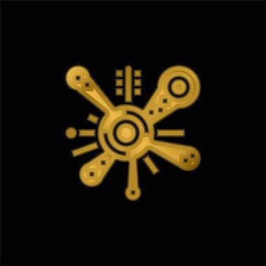 Bacteria gold plated metalic icon or logo vector stock vector