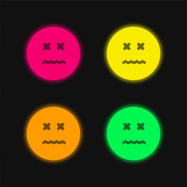 Annulled Emoticon Square Face four color glowing neon vector icon