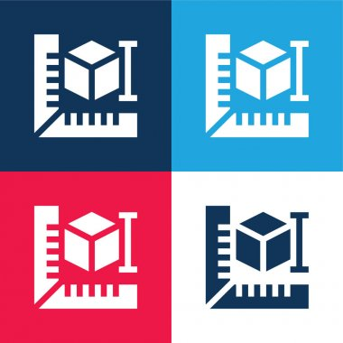 3d Printer blue and red four color minimal icon set stock vector