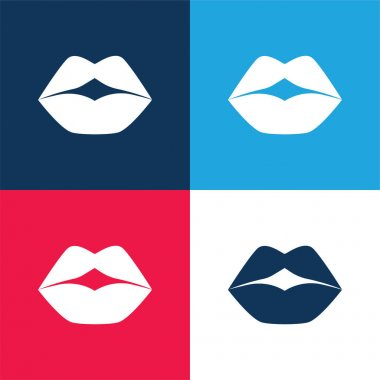 Big Lips blue and red four color minimal icon set stock vector