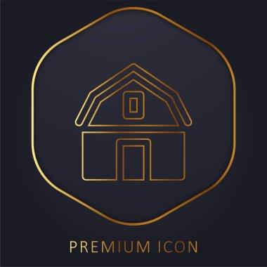 Barn golden line premium logo or icon stock vector