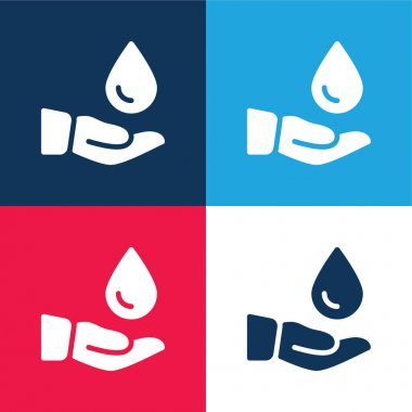 Blood Donation blue and red four color minimal icon set stock vector