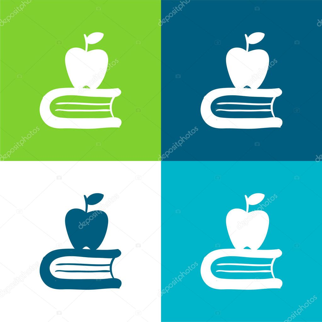 Apple On A Book Flat four color minimal icon set stock vector
