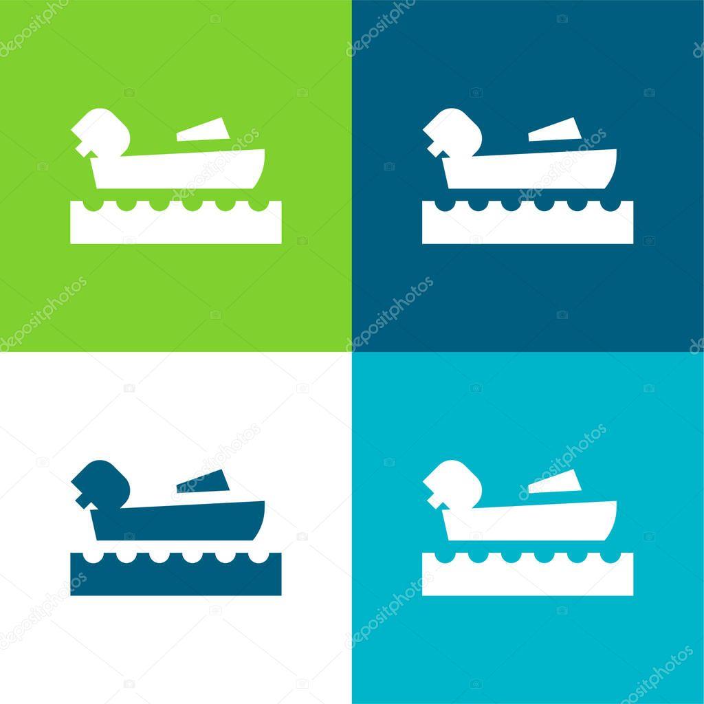 Nautica Set di icone minime a quattro colori Flat