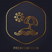 Beach golden line premium logo or icon