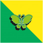 Fekete pillangó Top View nyitott szárnyakkal Zöld és sárga modern 3D vektor ikon logó