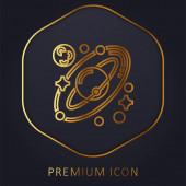 Csillagászat arany vonal prémium logó vagy ikon
