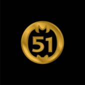51 On Social Logo pozlacená metalická ikona nebo vektor loga
