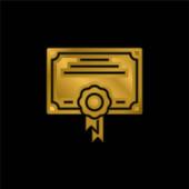 Award gold plated metalic icon or logo vector