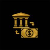 Bankaranyozott fém ikon vagy logó vektor