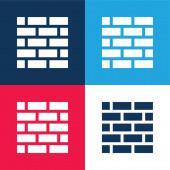 Brickwall modrá a červená čtyři barvy minimální ikona nastavena