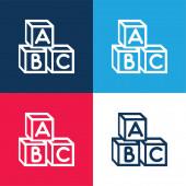 Baby Abc Kostky modré a červené čtyři barvy minimální ikony nastavit
