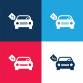 Zbrusu nové auto s dolarem Cena Štítek modrá a červená čtyři barvy minimální ikona sada