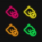 Baby Male Face four color glowing neon vector icon