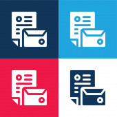 Branding blue and red four color minimal icon set