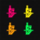 Bar Service čtyři barvy zářící neonový vektor ikona