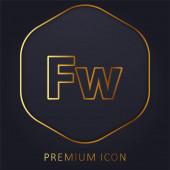 Zlaté prémiové logo nebo ikona Adobe Fireworks