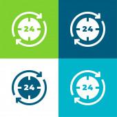 24 Hours Flat four color minimal icon set
