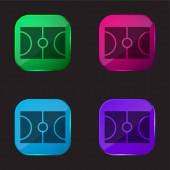 Kosárlabda négy színű üveg gomb ikon