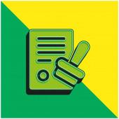 Schválit zelené a žluté moderní 3D vektorové logo