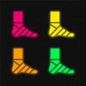 Obvaz čtyři barvy zářící neonový vektor ikona