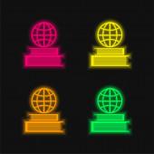 Kniha a mřížka Země na horní čtyři barvy zářící neonový vektor
