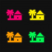 Strand négy szín izzó neon vektor ikon