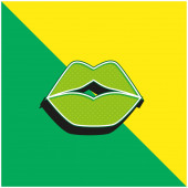 Big Lips Zelené a žluté moderní 3D vektorové logo