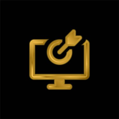 Bow gold plated metalic icon or logo vector stock vector