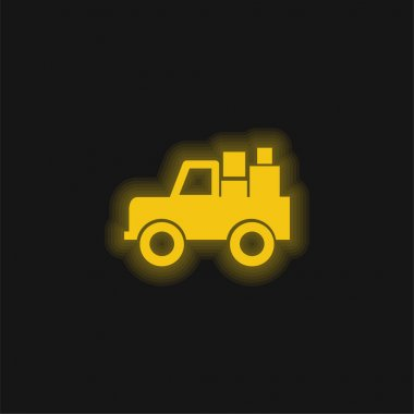 All Terrain Vehicle With Cargo yellow glowing neon icon stock vector
