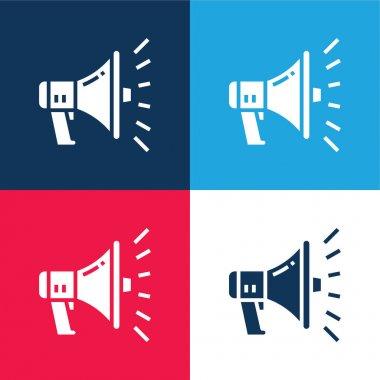 Reklam mavi ve kırmızı dört renk minimal simgesi seti