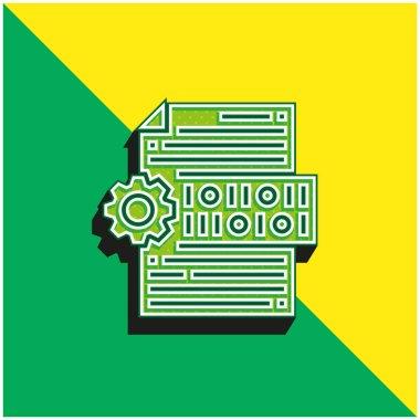Binary Code Green and yellow modern 3d vector icon logo stock vector