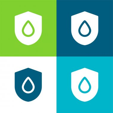 Blood Drop Flat four color minimal icon set stock vector