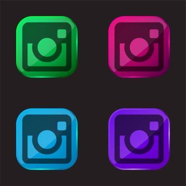 Big Instagram Logo four color glass button icon stock vector