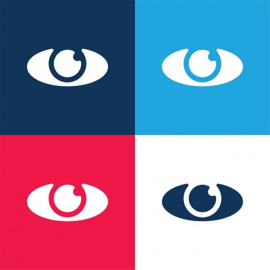 Big Eye blue and red four color minimal icon set stock vector
