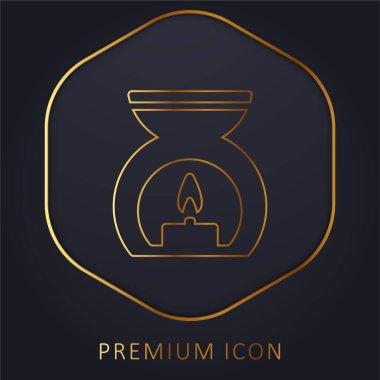 Aromaterapi Spa Tedavi Altın çizgi prim logosu veya simgesi