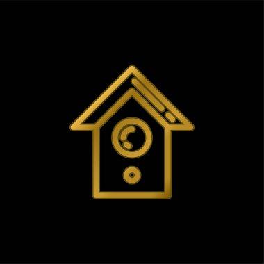 Bird House gold plated metalic icon or logo vector stock vector