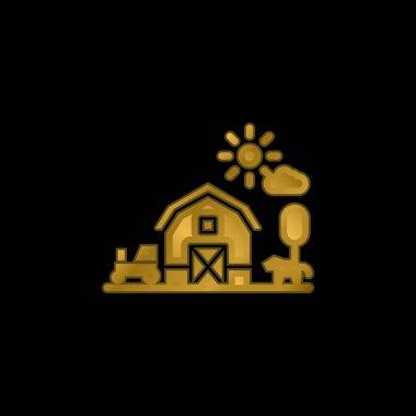 Barn gold plated metalic icon or logo vector stock vector
