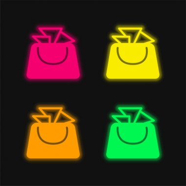 Bag For Ladies four color glowing neon vector icon