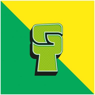 Black Power Green and yellow modern 3d vector icon logo stock vector