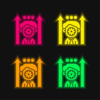 Boosting Potential four color glowing neon vector icon stock vector