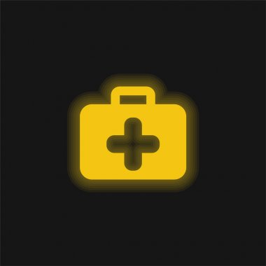 Briefcase yellow glowing neon icon stock vector